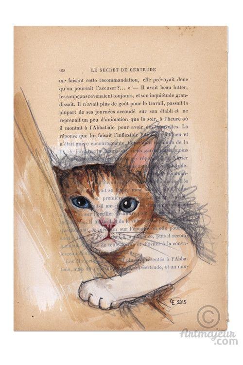 BARNEY-VENDU - Peinture,  15,7x24 cm ©2015 par evafialka -                                                                                    Art figuratif, Impressionnisme, Papier, Animaux, Chats, chat, cat, cat nap, cut cat, acrylic painting, old book