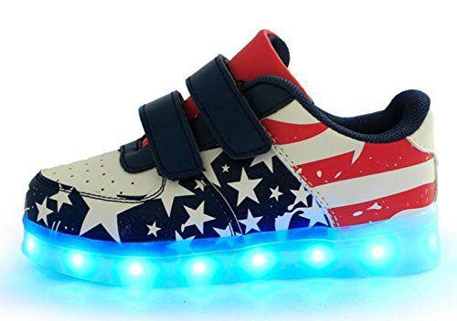 COSIVIA-7 Couleur Unisexe garçons et filles enfants USB Charge LED Lumière Lumineux Clignotants Chaussures de Sports Baskets (35, COMME…