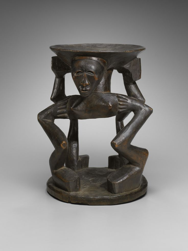 Caryatid Stool late 19th to early 20th century Wood Object: 50.8 cm (20 in.) Charles B. Benenson, B.A. 1933, Collection 2006.51.292 Geography: Made in Central Africa, Angola Made in Central Africa, Congo (Kinshasa) Culture: Songye
