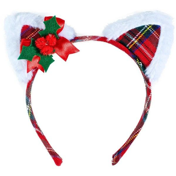 Christmas Cat Headband (46680 PYG) ❤ liked on Polyvore featuring accessories, hair accessories, head wrap hair accessories, leg avenue, plaid headband, cat headband and hair band accessories