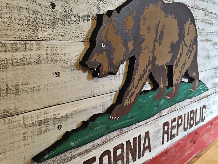 Reclaimed Wood 3D California Flag Wall Decor