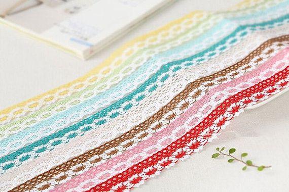 Cotton lace  Colorful cotton crochet trim  by TaikalandiaSupplies