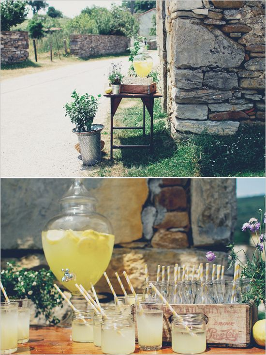 rustic lemonade stand #drinkstation http://www.weddingchicks.com/2013/12/16/wedding-in-northern-spain/