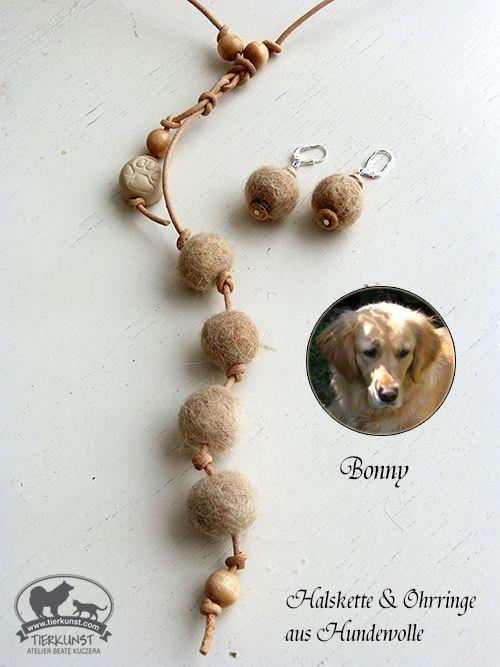 Halskette und Ohrringe aus Hundewolle. Earrings and necklace with dogwool. www.tierkunst.com www.pet-artwork.com