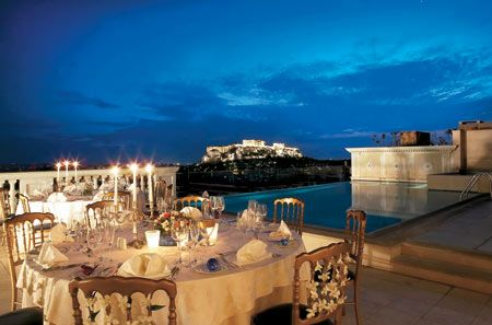 King George Palace - roof top restaurant and pool, Athens, Greece
