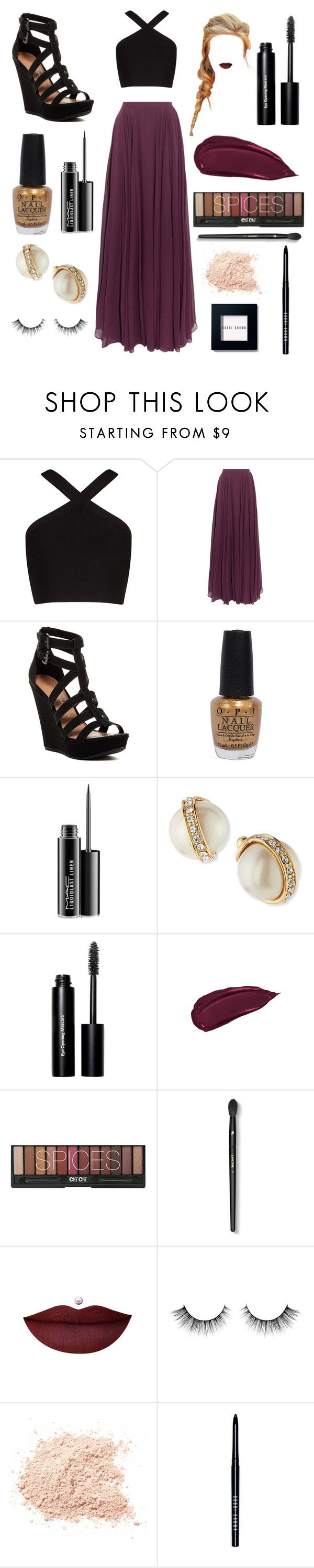 """""""Untitled #98"""" by mcvolleyball72 ❤ liked on Polyvore featuring BCBGMAXAZRIA, Halston Heritage, Chinese Laundry, OPI, MAC Cosmetics, Kate Spade, Bobbi Brown Cosmetics and Lancôme"""