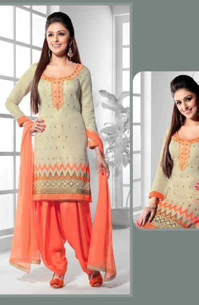 USD 51.18 Beige Silk Punjabi Salwar Kameez 30656
