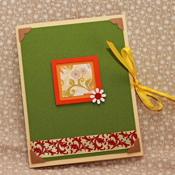 Cute green flower notebook by celticfishDesign on Etsy