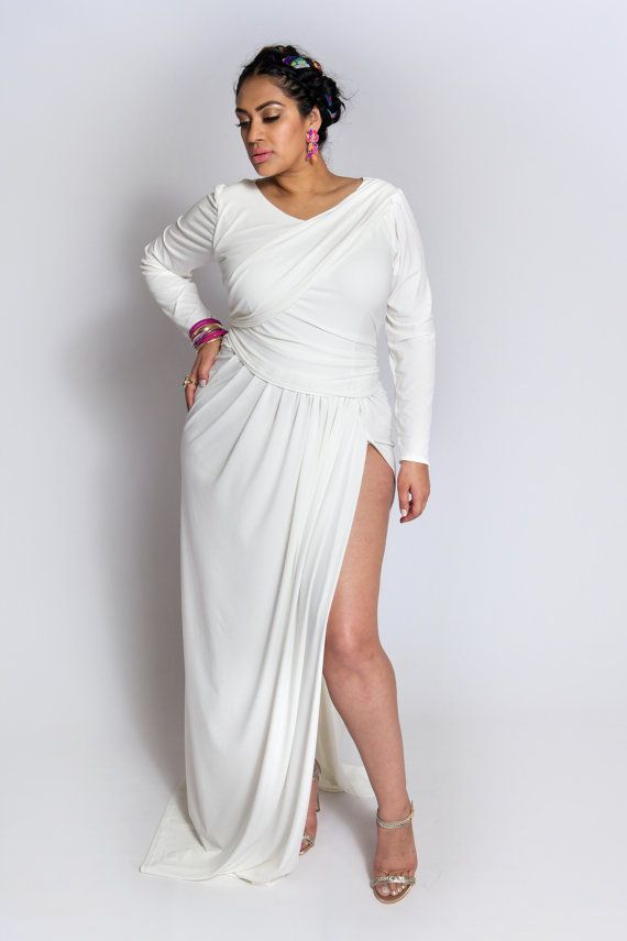 White Plus Size Gowns Keninamas