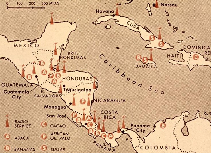 Map of United Fruit properties. In Guatemala, abaca and bananas were planted and harvested.
