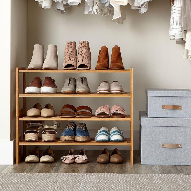 2tier bamboo stackable shoe shelf shoe organization
