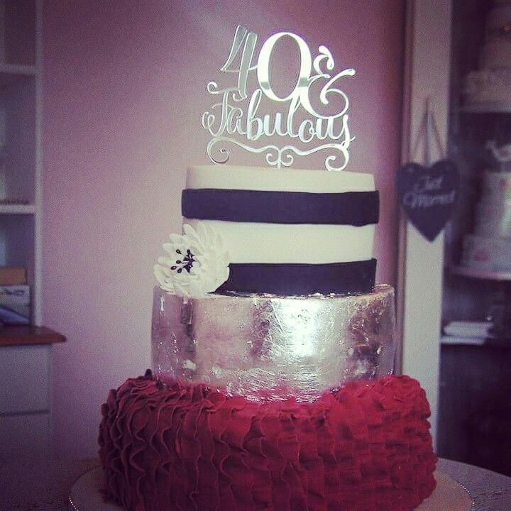 Red black silver 40th cake