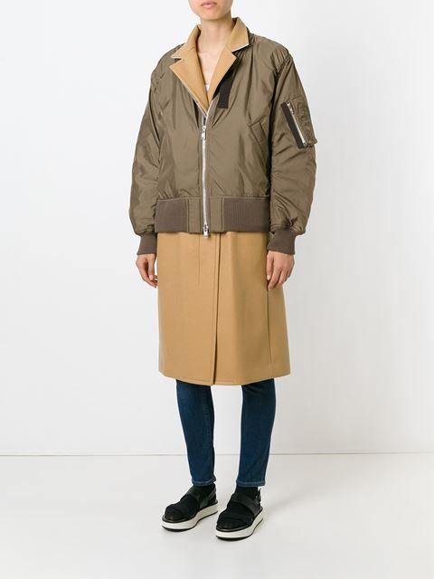 Sacai Luck комбинированное пальто в стиле куртки-бомбер