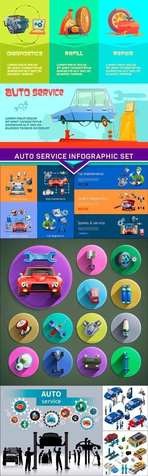 Auto service infographic set 7X EPS
