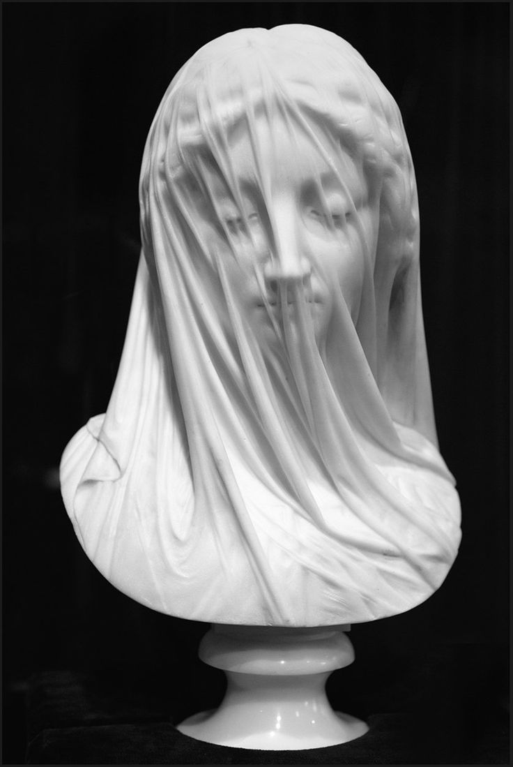 "Giovanni Strazza, ""The Veiled Lady,"" Marble Sculpture, ca. Mid-19th Century."