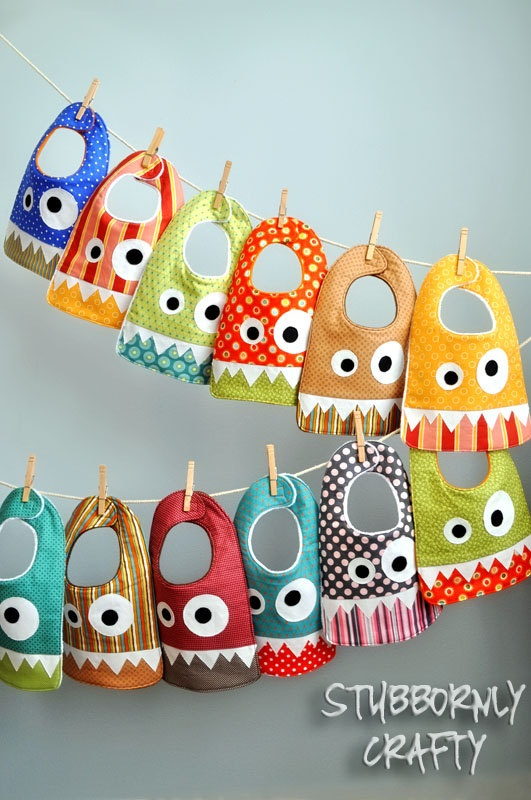 Girly Monster Baby Bib, Handmade by Lisa.