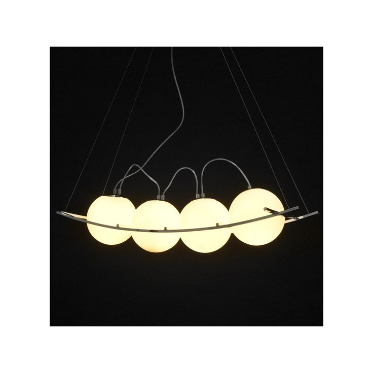La lampe suspendue design motmot 4 boules en acier chrom blanc illuminera in - Lampe suspendue design ...