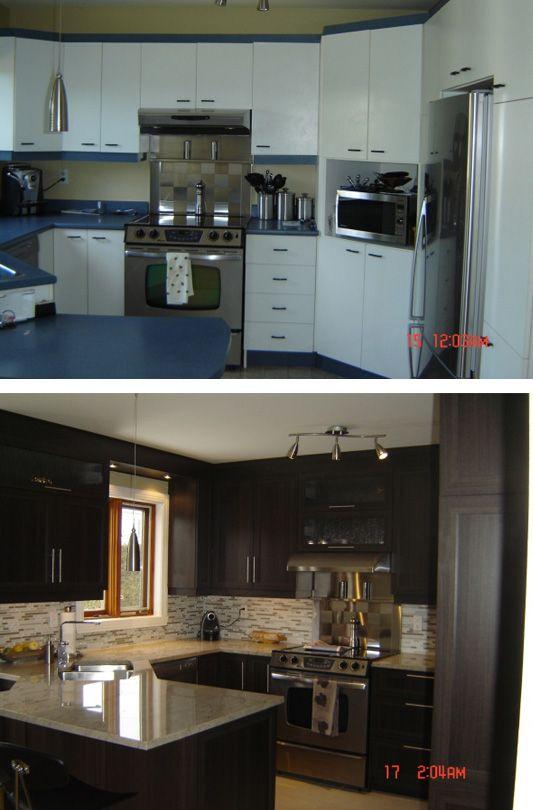 Redonnez à votre cuisine terne et défraîchie un look au goût du jour. Avant & Après / Before and after kitchen makeover