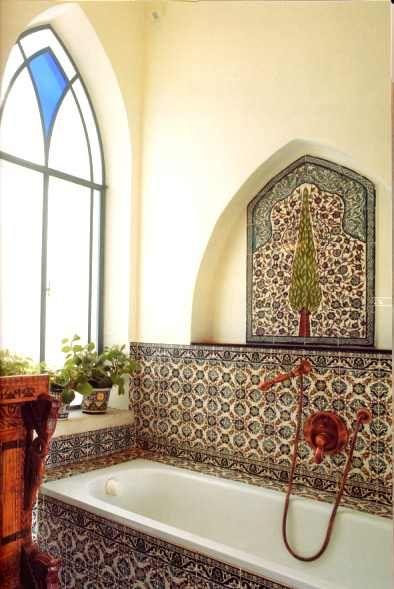 Beautiful bathroom with hand painted ceramic tiles and pottery by Balian Armenian Ceramics
