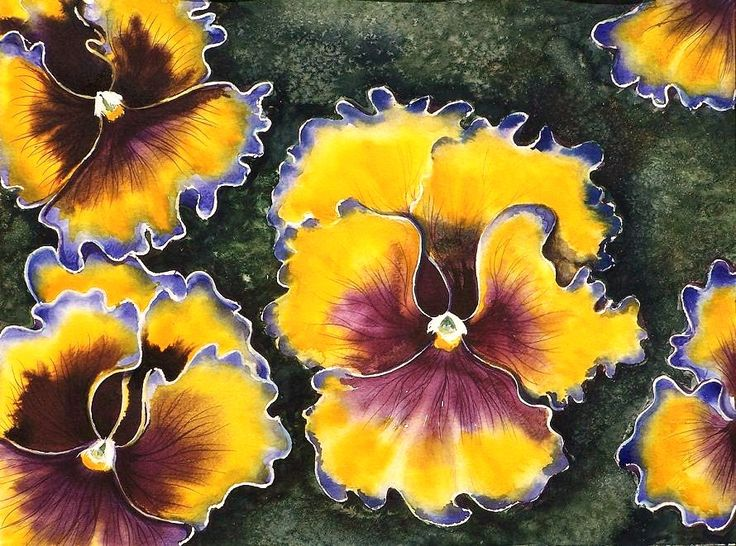 Edyta Nadolska Watercolor Art - 'Pansies'