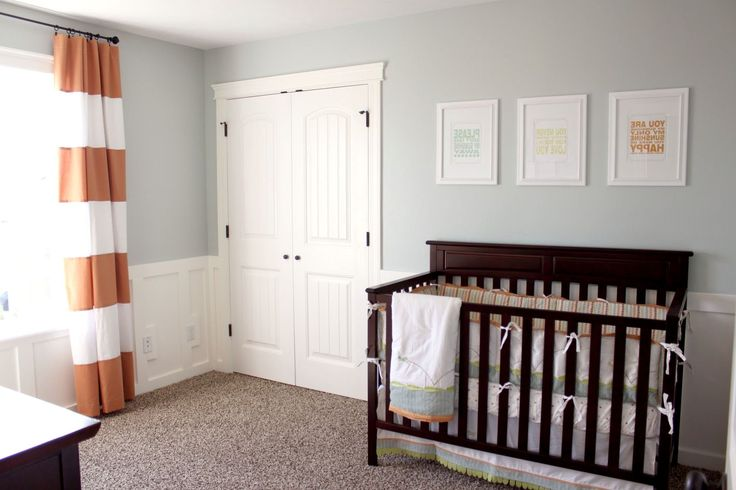 Lovely Orange Horizontal Striped Curtains With White Door And Baby Box For Your Children Room