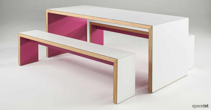 jb45 pink canteen table and benches | Office kitchen