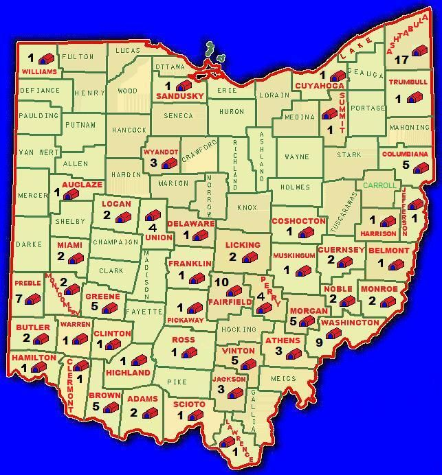 Covered Bridges In Ohio Map | County Covered Bridge map only shows the number of Covered Bridges ...