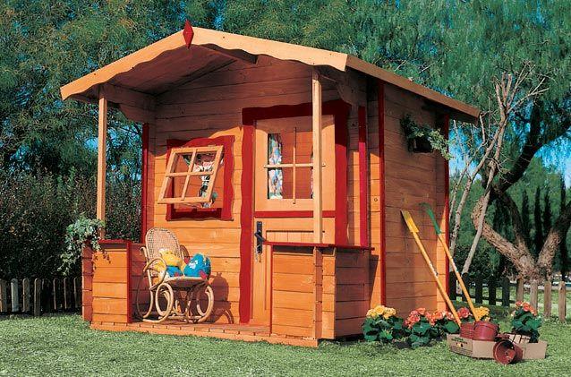 Casita de madera infantil tody color miel casitas de - Casitas pequenas de madera ...