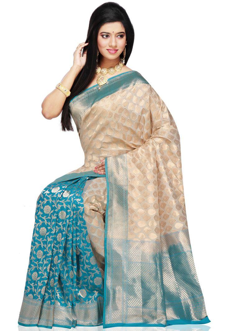 Off white and aqua  http://www.utsavfashion.com/saree/off-white-and-aqua-banarasi-handloom-pure-silk-saree-with-blouse/sau302-itemcode