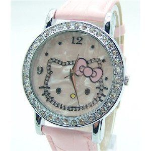 Hello Kitty Crystal and Mother of Pearl Background Pink Band Watch & Pouch + Extra Battery www.watchesbuy.net Price: $2.99