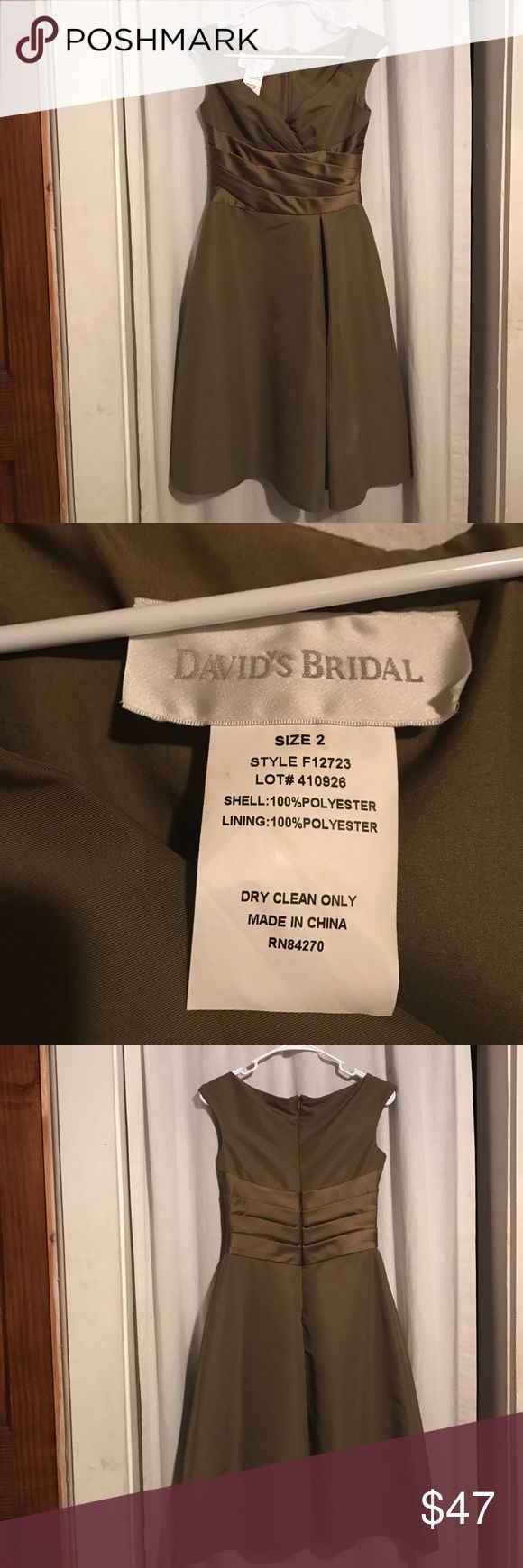 David's Bridal Dinner Party Dress Olive Green dinner party dress. Only worn one time. Excellent condition David's Bridal Dresses Wedding