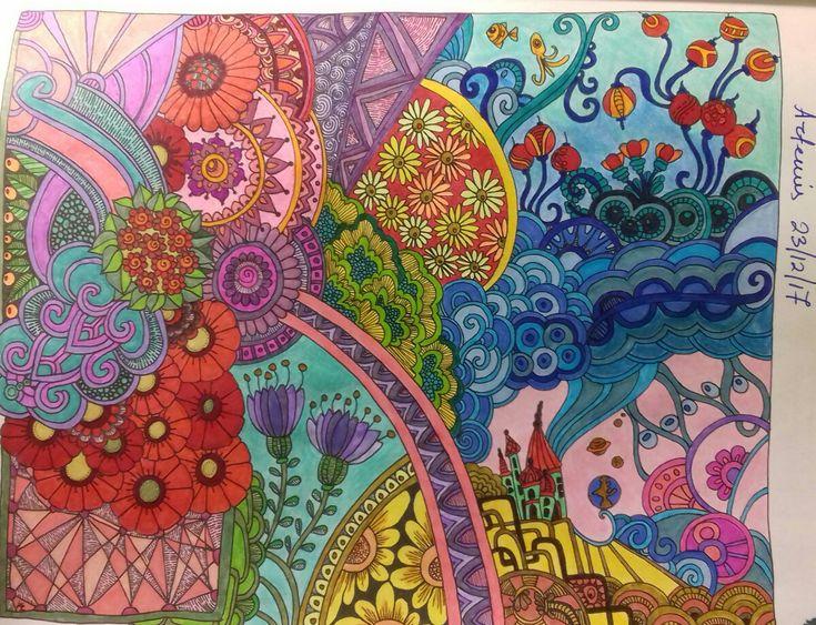 Week 71, Zen doodle designs by Angela Porter, coloured by Artemis Anapnioti.