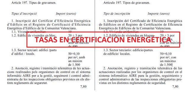 Tasas en certificados energéticos para inscribir el Certificado de #Eficiencia Energética de #Edificios en el Registro pertinente de la Comunitat Valenciana.