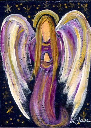 ACEO Celestal Praying Angel Spirit Purple Lavender Acrylic Fantasy Linda Yake