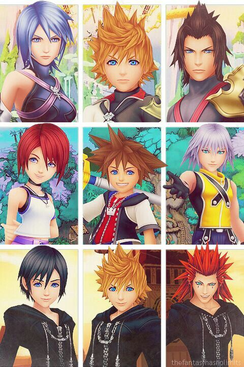 Kingdom Hearts trios. Aqua x Ventus x Terra - Birth by Sleep : Kairi x Sora x Riku - 1 : Xion x Roxas x Axel - 358/2 Days.