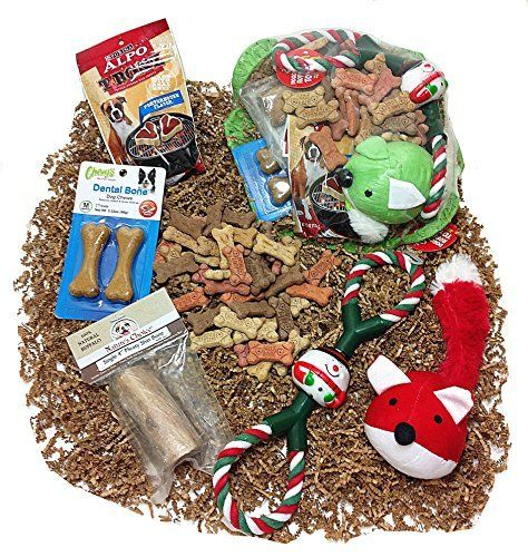 Doggies get Christmas gifts – pets are people, too! Includes variety flavor dog biscuits, steak shaped dog treat snacks, buffalo shin bone, flavored dental bone chews, plush animal squeaky toy (color varies) and Santa Claus Rope pull tug toy for play. Arrives cellophane wrapped in a wire... more details available at https://perfect-gifts.bestselleroutlets.com/gifts-for-pets/for-dogs/product-review-for-ultimate-christmas-dog-gift-basket-of-biscuits-treats-buffalo-bone-de