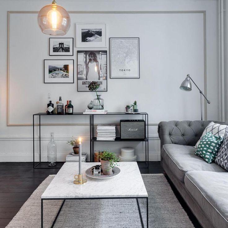 """""""Att få till en schysst tavelvägg i vardagsrummet, kan du enkelt fixa genom att spika en stor ram av fina lister. Därefter hänger du några väl valda tavlor…"""""""