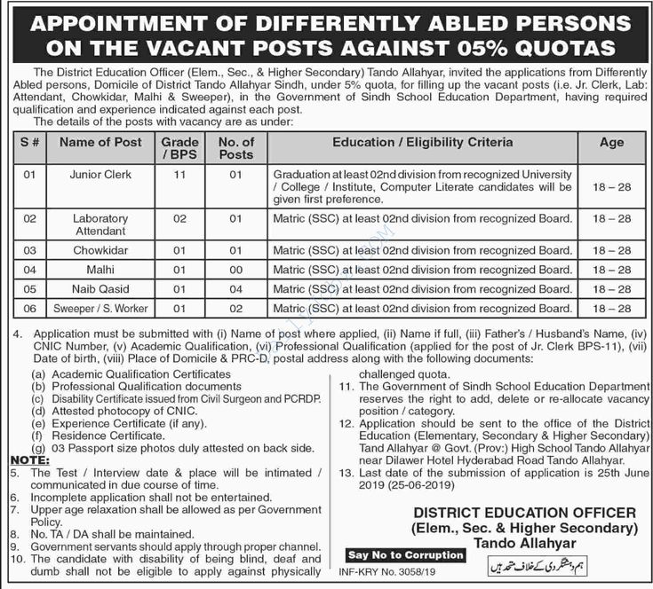 School Education Department Tando Allahyar Jobs JC, LA, Chowkidar, Malhi, NQ, Sw…
