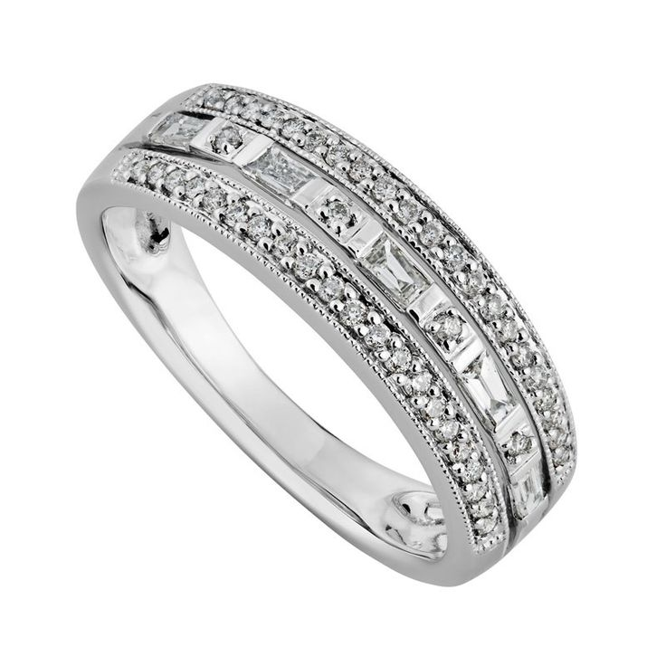 9ct White Gold 025 Carat Round Brilliant And Baguette Diamond Ring
