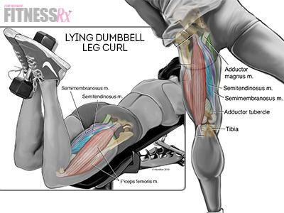 Lying dumbbell leg curls, to tighten up weak and soft rear thighs!