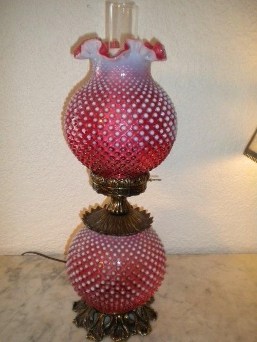 Vintage Fenton Cranberry Opalescent Glass Hobnail GWTW Lamp