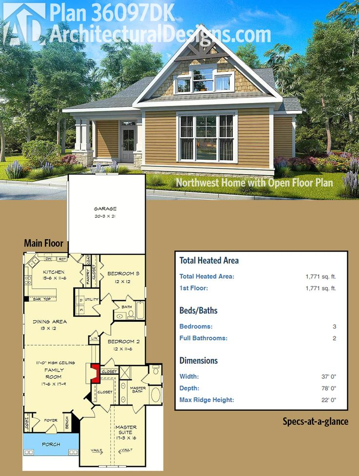 Architectural Designs House Plan 36097DK gives you 3 beds and a narrow, 37'-wide, footprint. Over 1,700 square feet of heated living space. Ready when you are. Where do YOU want to build?