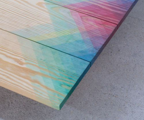 water color gradient on wood