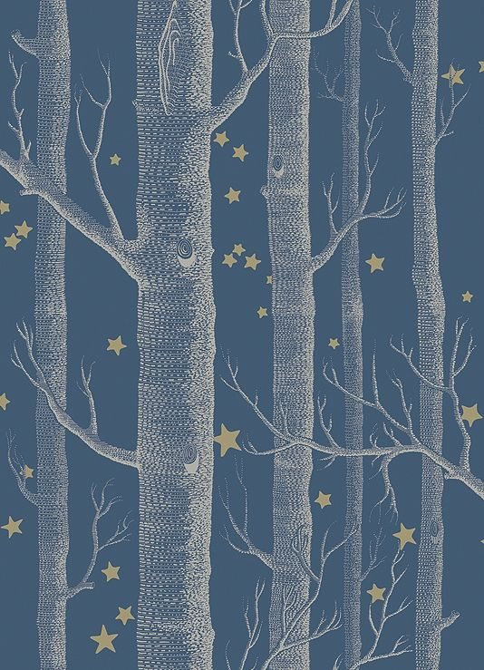 Woods & Stars Wallpaper A Cole's classic wallpaper with a twist, cream trees with gold stars on a dark teal background