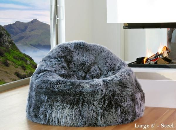 Natural Sheepskin Beanbag Chairs Unfilled
