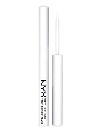 EYES NYX White Liquid Liner White eyeliner shouldn't be wimpy, and this liquid version is as bold and opaque as they come. The brush tip helps deposit a precise line of alabaster pigment that doesn't flake or fade once dry. And the formula stays put until you're ready to break out the makeup remover.