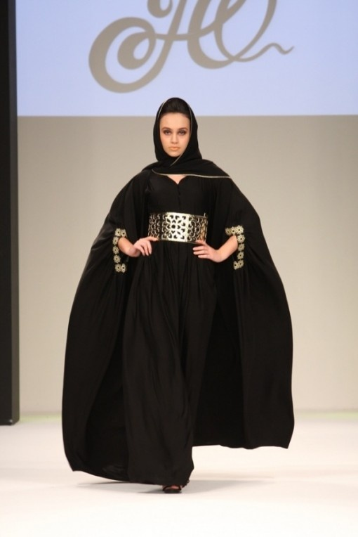 Black and gold abaya.