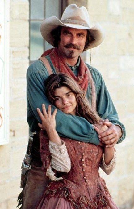 """""""Quigley Down Under"""". Tom Selleck as Matthew Quigley, Laura San Giacomo as """"Crazy Cora"""" 1990"""