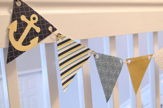 Nautical Pennant Banner - Nautical Bunting - Yellow and Blue - First Birthday - Happy Birthday Banner - High Chair Banner - Photo Prop via Etsy