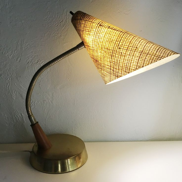 Mid century modern fibreglass shade goose neck lamp, Great vintage desk lamp, Brass desk lamp, Retro desk lamp, Boho vintage lamp, by TheWovenMarket on Etsy https://www.etsy.com/listing/538718520/mid-century-modern-fibreglass-shade